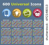 set of 600 universal icons .... | Shutterstock .eps vector #692148013