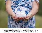 booties in the hands of a... | Shutterstock . vector #692150047