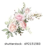 Stock photo watercolor flowers arrangements floral illustration composition of flowers pink rose leaf and 692151583