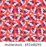 Stock vector seamless floral pattern for design small scale white flowers and leaves red background modern 692168293
