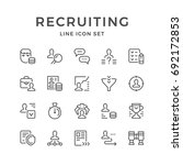 set line icons of recruiting...
