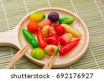 fruit shaped mung beans in... | Shutterstock . vector #692176927