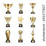 golden trophy cups collection... | Shutterstock . vector #692177827