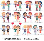 couples on valentine s day on... | Shutterstock . vector #692178253