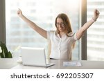 excited smiling businesswoman...   Shutterstock . vector #692205307