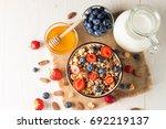 healthy breakfast concept with... | Shutterstock . vector #692219137