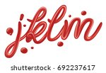 tomato ketchup font set... | Shutterstock .eps vector #692237617