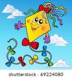 Cartoon Kite On Blue Sky  ...