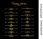 gold calligraphic page dividers.... | Shutterstock . vector #692255113