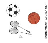 badminton racket and... | Shutterstock .eps vector #692264587