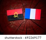 Small photo of Angolan flag with French flag on a tree stump isolated