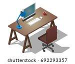 empty desktop for businessman.... | Shutterstock .eps vector #692293357