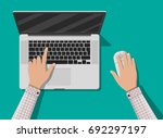 laptop top view. mobile... | Shutterstock .eps vector #692297197