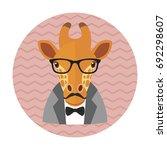 hipster giraffe with glasses ... | Shutterstock .eps vector #692298607