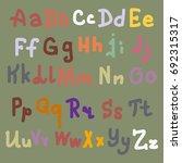 hand drawn alphabet. brush... | Shutterstock . vector #692315317