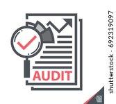 magnifier on a report sheet... | Shutterstock .eps vector #692319097