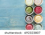 top view of ice cream flavors... | Shutterstock . vector #692323807