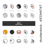 set of isometric icons in... | Shutterstock .eps vector #692344747