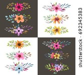 watercolor floral bouquet with... | Shutterstock .eps vector #692345383