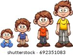 cartoon boy growing up. vector... | Shutterstock .eps vector #692351083