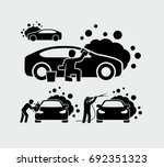 man washing car vector icons  | Shutterstock .eps vector #692351323