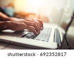 business man using laptop... | Shutterstock . vector #692352817