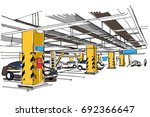 underground parking sketch | Shutterstock .eps vector #692366647