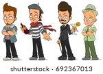 cartoon cool handsome guys with ... | Shutterstock .eps vector #692367013