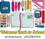 top view of a students desk...   Shutterstock .eps vector #692384593