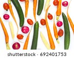 vegetable and vegetable top view | Shutterstock . vector #692401753