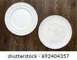 Two White Round Porcelain Dish...