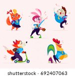 vector flat collection of happy ... | Shutterstock .eps vector #692407063