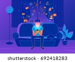 man sitting at home on the... | Shutterstock .eps vector #692418283