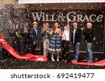 "Small photo of LOS ANGELES - AUG 2: Eric McCormack, Debra Messing, Megan Mullally, Sean Hayes at the ""Will & Grace"" Start of Production Kick Off Event at the Universal Studios on August 2, 2017 in Universal City, CA"