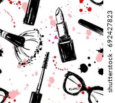 seamless makeup cosmetics... | Shutterstock .eps vector #692427823