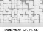 white wall made of white cubes... | Shutterstock . vector #692443537