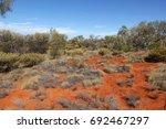 a desolate australian landscape.... | Shutterstock . vector #692467297