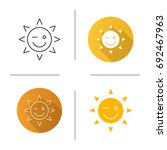 winking sun smile icon. flat... | Shutterstock .eps vector #692467963