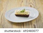 dessert on a beautiful wooden...   Shutterstock . vector #692483077