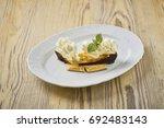 dessert on a beautiful wooden...   Shutterstock . vector #692483143