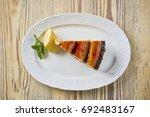 dessert on a beautiful wooden...   Shutterstock . vector #692483167
