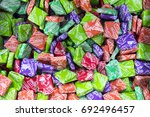 Small photo of Orrtanna, PA, USA - August 8, 2017 : VIntage Now and Later fruit chews colorful wrappers close up.