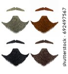 set vector beard and mustache... | Shutterstock .eps vector #692497567