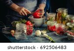 preserved red bell peppers... | Shutterstock . vector #692506483