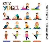 kids yoga icons set. smiling... | Shutterstock . vector #692516287