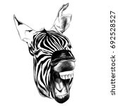 Zebra Head Contorts Face With...