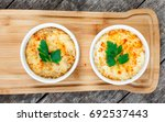 two bowls of hot julienne with... | Shutterstock . vector #692537443