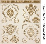 set of gold damask ornaments.... | Shutterstock .eps vector #692538943