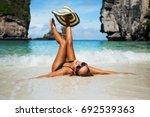summer lifestyle portrait of... | Shutterstock . vector #692539363