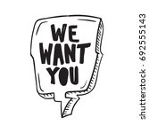 we want you . hand drawn comic... | Shutterstock .eps vector #692555143